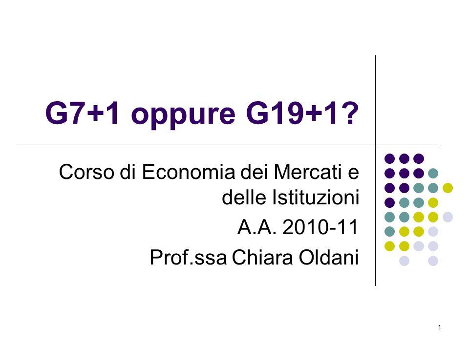 1 G7+1 oppure G19+1? Corso di Economia dei Mercati e delle Istituzioni A.A. 2010-11 Prof.ssa Chiara Oldani