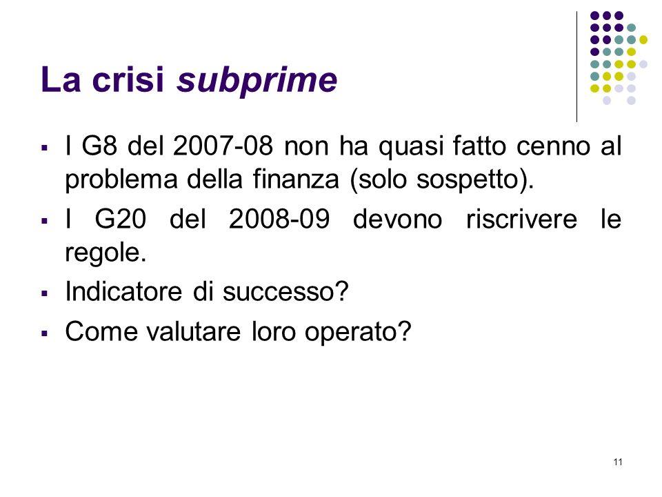 11 La crisi subprime I G8 del 2007-08 non ha quasi fatto cenno al problema della finanza (solo sospetto). I G20 del 2008-09 devono riscrivere le regol