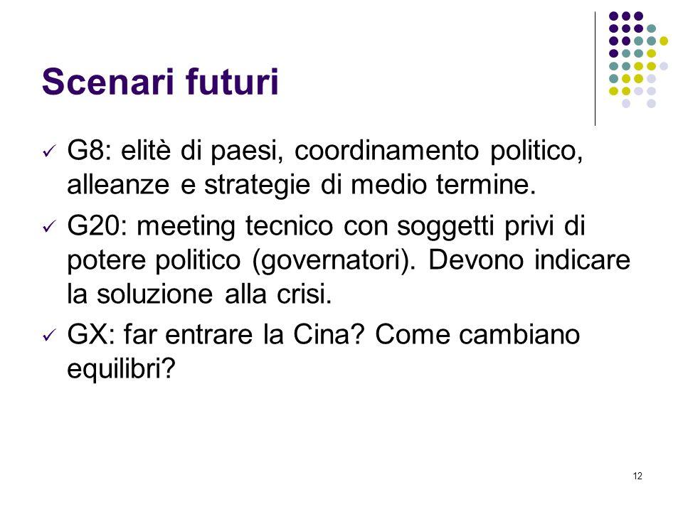12 Scenari futuri G8: elitè di paesi, coordinamento politico, alleanze e strategie di medio termine. G20: meeting tecnico con soggetti privi di potere