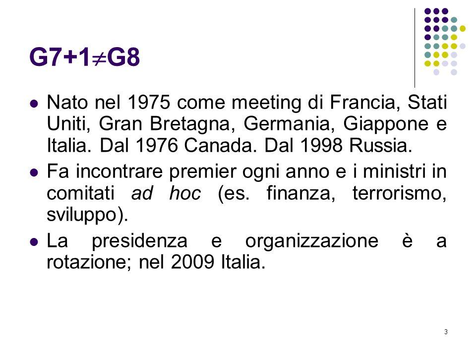 3 G7+1 G8 Nato nel 1975 come meeting di Francia, Stati Uniti, Gran Bretagna, Germania, Giappone e Italia. Dal 1976 Canada. Dal 1998 Russia. Fa incontr
