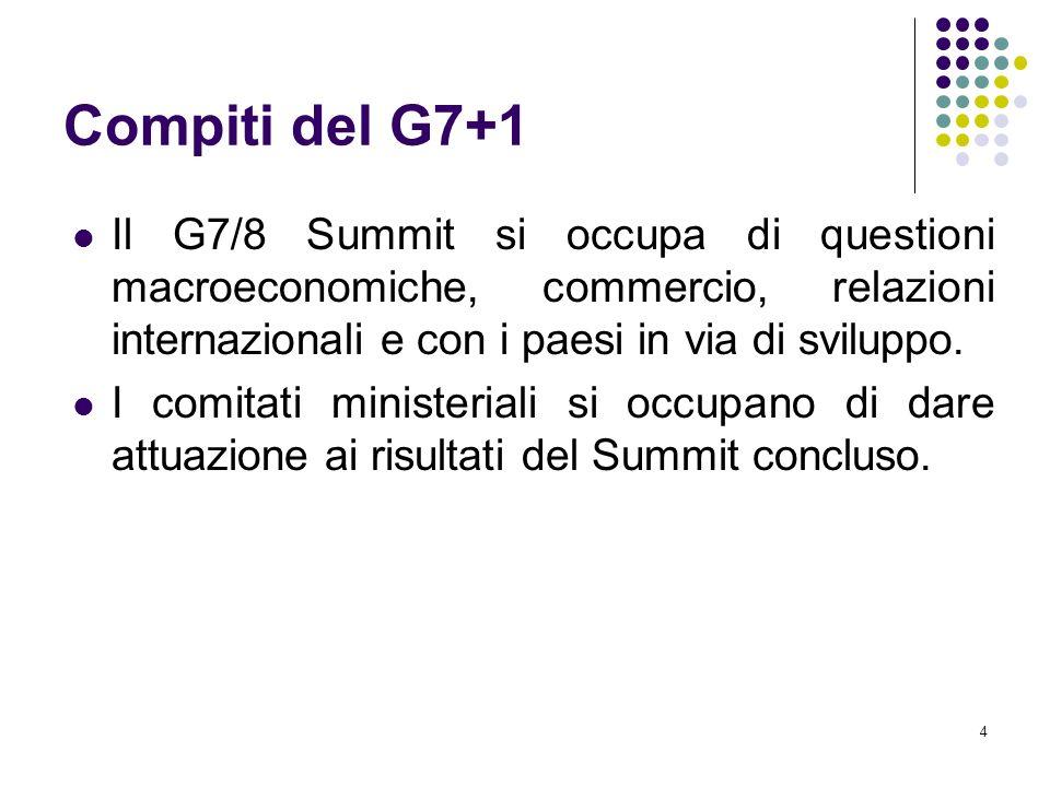 4 Compiti del G7+1 Il G7/8 Summit si occupa di questioni macroeconomiche, commercio, relazioni internazionali e con i paesi in via di sviluppo.