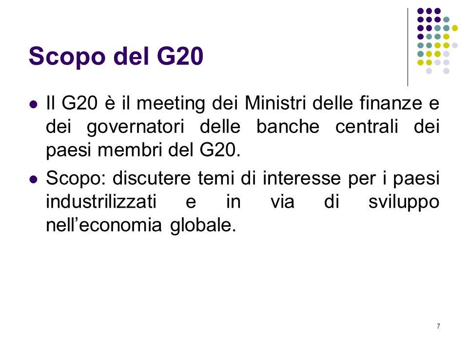 7 Scopo del G20 Il G20 è il meeting dei Ministri delle finanze e dei governatori delle banche centrali dei paesi membri del G20. Scopo: discutere temi