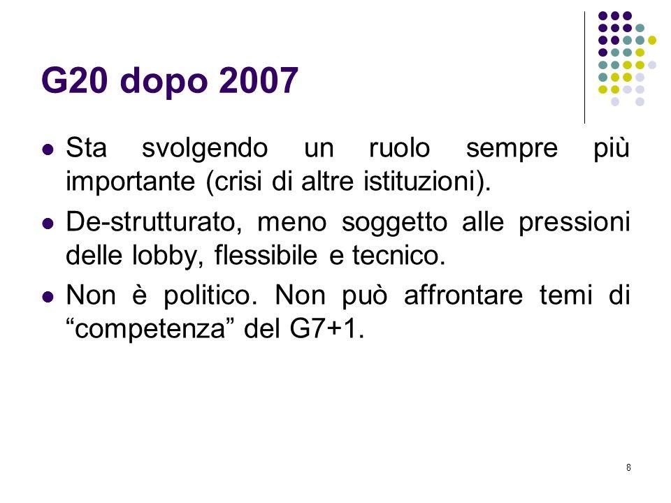 8 G20 dopo 2007 Sta svolgendo un ruolo sempre più importante (crisi di altre istituzioni). De-strutturato, meno soggetto alle pressioni delle lobby, f