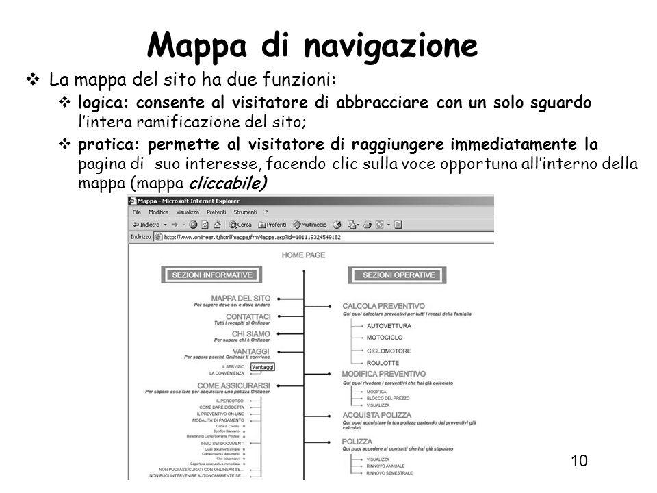 Informatica 1 SCICOM (COM) - a.a. 2010/11 10 Mappa di navigazione La mappa del sito ha due funzioni: logica: consente al visitatore di abbracciare con