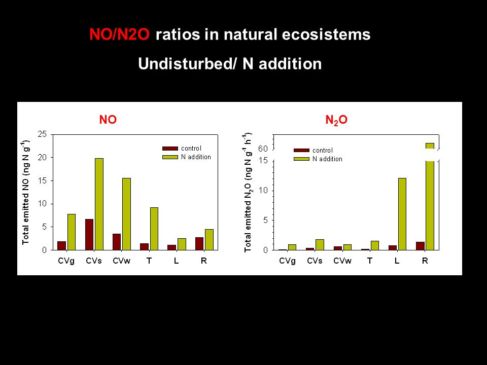 NO/N2O ratios in natural ecosistems Undisturbed/ N addition NON2ON2O