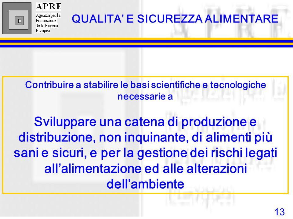 13 Contribuire a stabilire le basi scientifiche e tecnologiche necessarie a Sviluppare una catena di produzione e distribuzione, non inquinante, di al