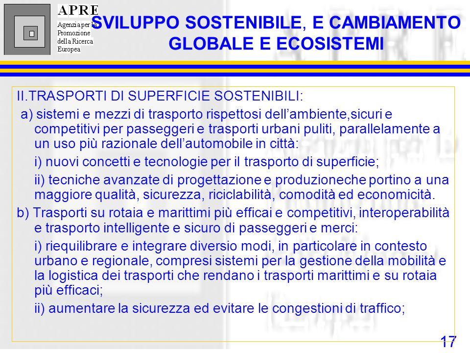 17 II.TRASPORTI DI SUPERFICIE SOSTENIBILI: a) sistemi e mezzi di trasporto rispettosi dellambiente,sicuri e competitivi per passeggeri e trasporti urb
