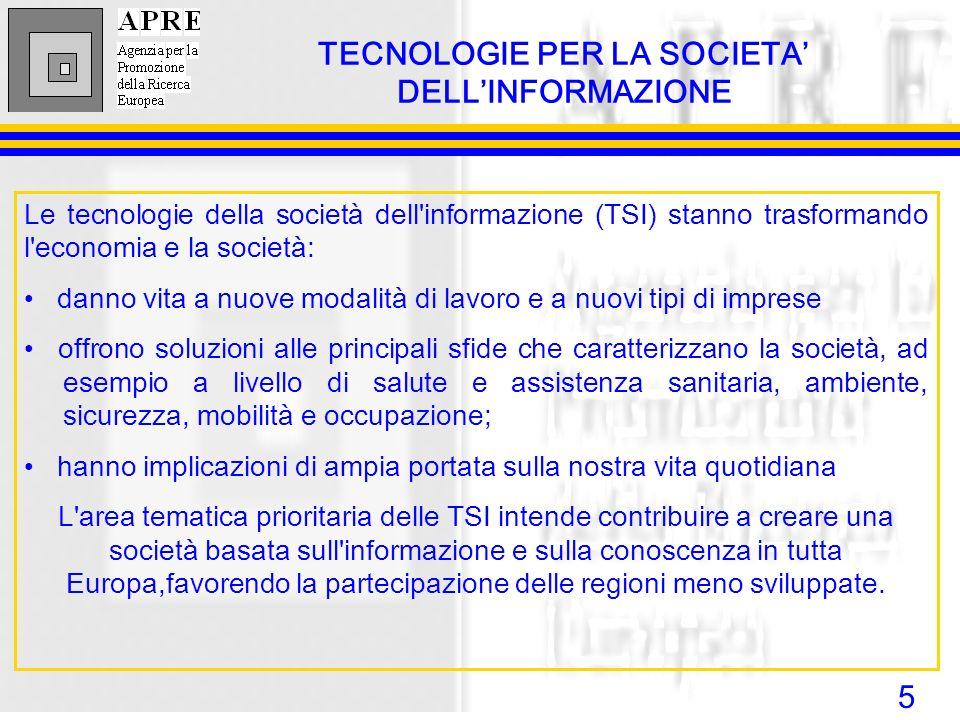 5 TECNOLOGIE PER LA SOCIETA DELLINFORMAZIONE Le tecnologie della società dell'informazione (TSI) stanno trasformando l'economia e la società: danno vi