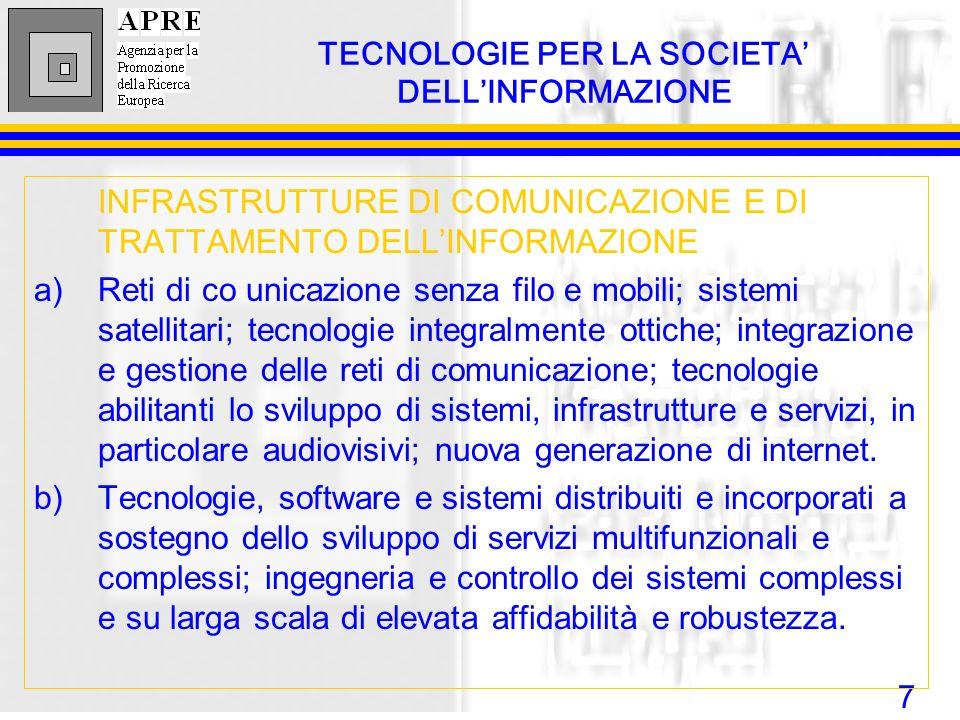 7 INFRASTRUTTURE DI COMUNICAZIONE E DI TRATTAMENTO DELLINFORMAZIONE a)Reti di co unicazione senza filo e mobili; sistemi satellitari; tecnologie integ