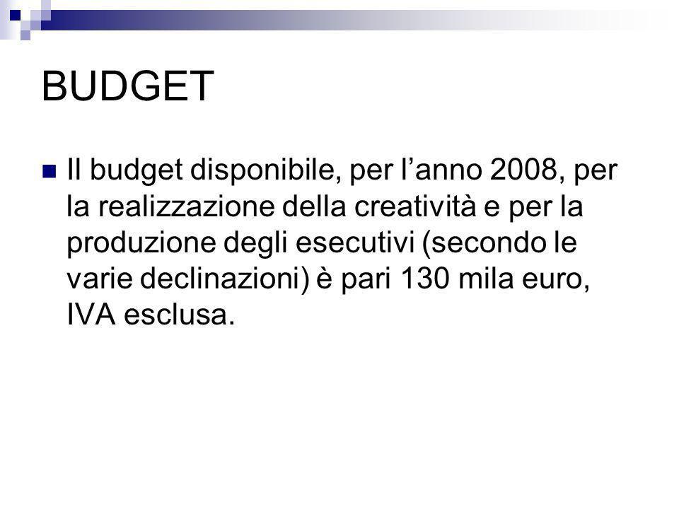 BUDGET Il budget disponibile, per lanno 2008, per la realizzazione della creatività e per la produzione degli esecutivi (secondo le varie declinazioni) è pari 130 mila euro, IVA esclusa.