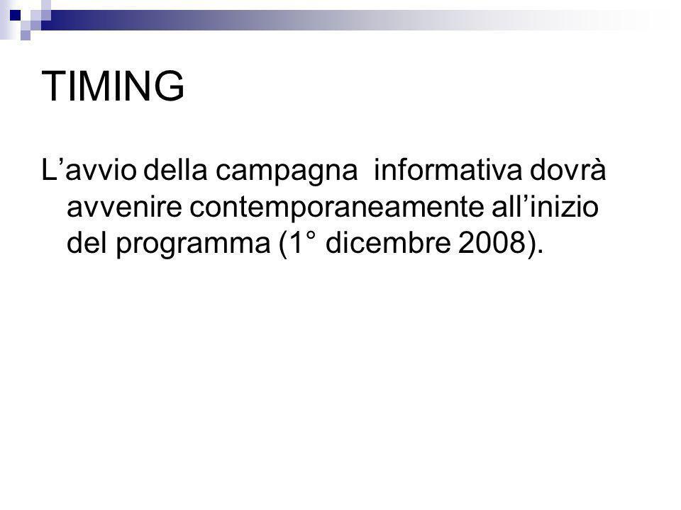 TIMING Lavvio della campagna informativa dovrà avvenire contemporaneamente allinizio del programma (1° dicembre 2008).