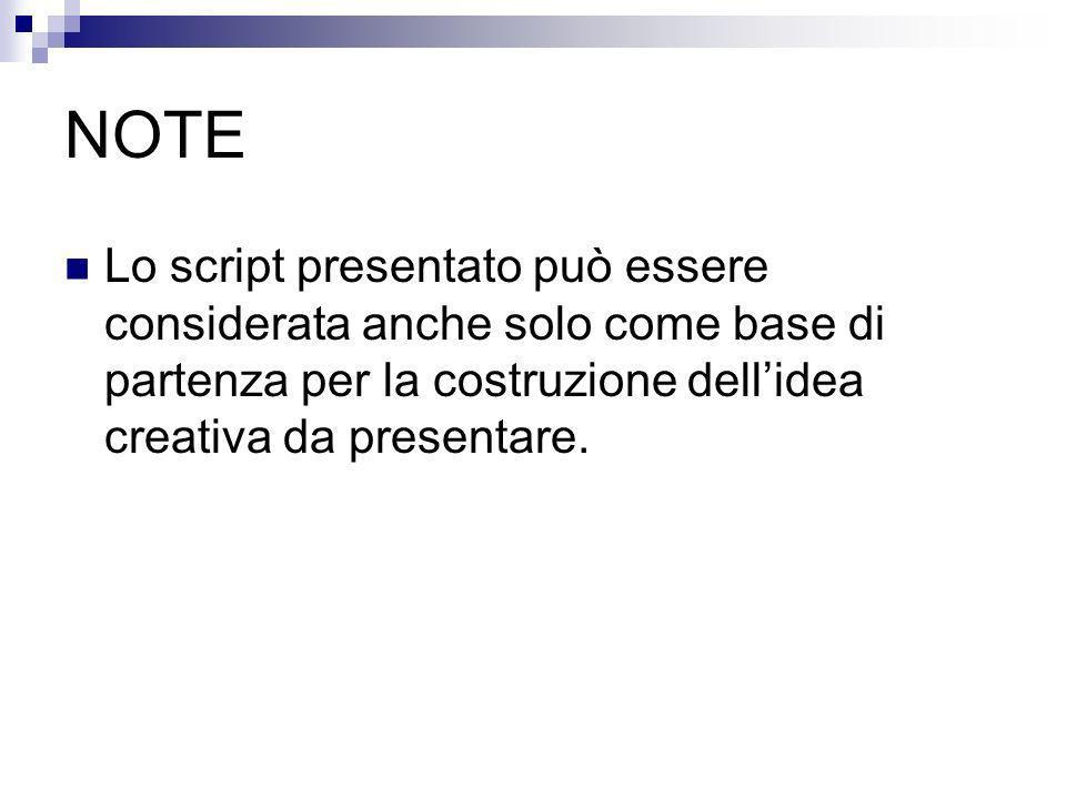 NOTE Lo script presentato può essere considerata anche solo come base di partenza per la costruzione dellidea creativa da presentare.