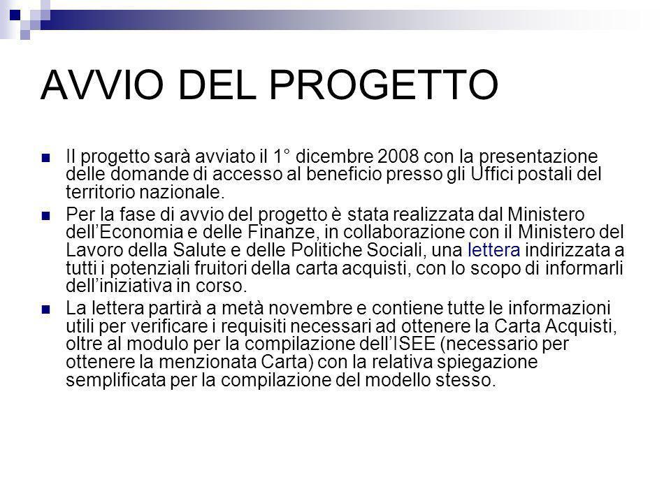 AVVIO DEL PROGETTO Il progetto sarà avviato il 1° dicembre 2008 con la presentazione delle domande di accesso al beneficio presso gli Uffici postali del territorio nazionale.