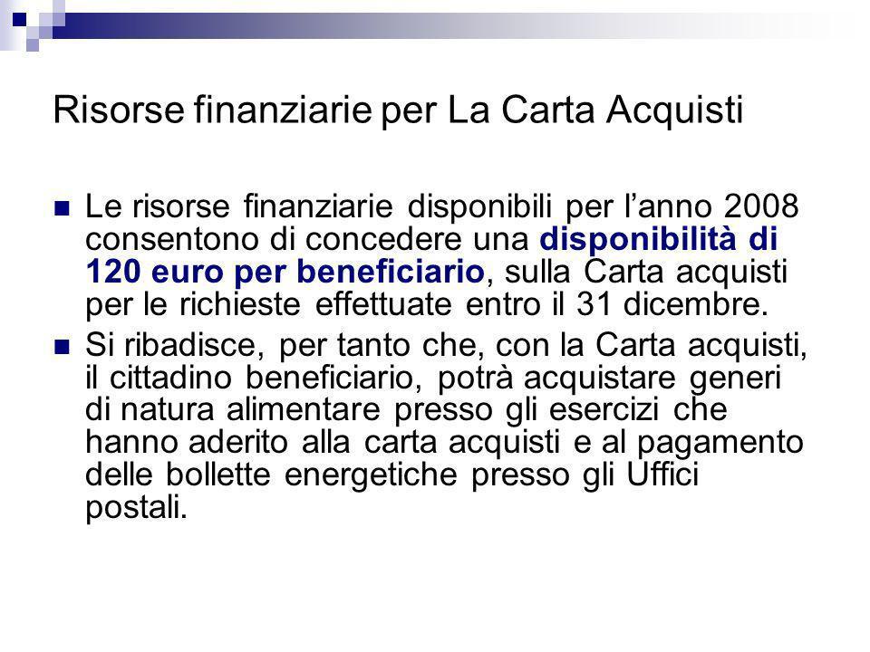 Risorse finanziarie per La Carta Acquisti Le risorse finanziarie disponibili per lanno 2008 consentono di concedere una disponibilità di 120 euro per beneficiario, sulla Carta acquisti per le richieste effettuate entro il 31 dicembre.