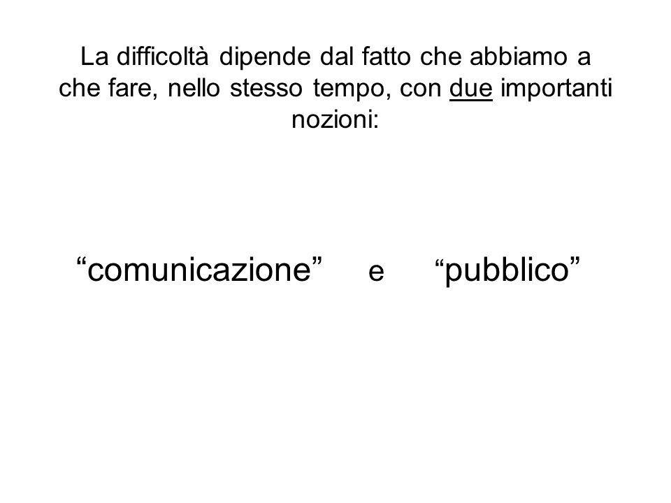 La difficoltà dipende dal fatto che abbiamo a che fare, nello stesso tempo, con due importanti nozioni: comunicazione e pubblico