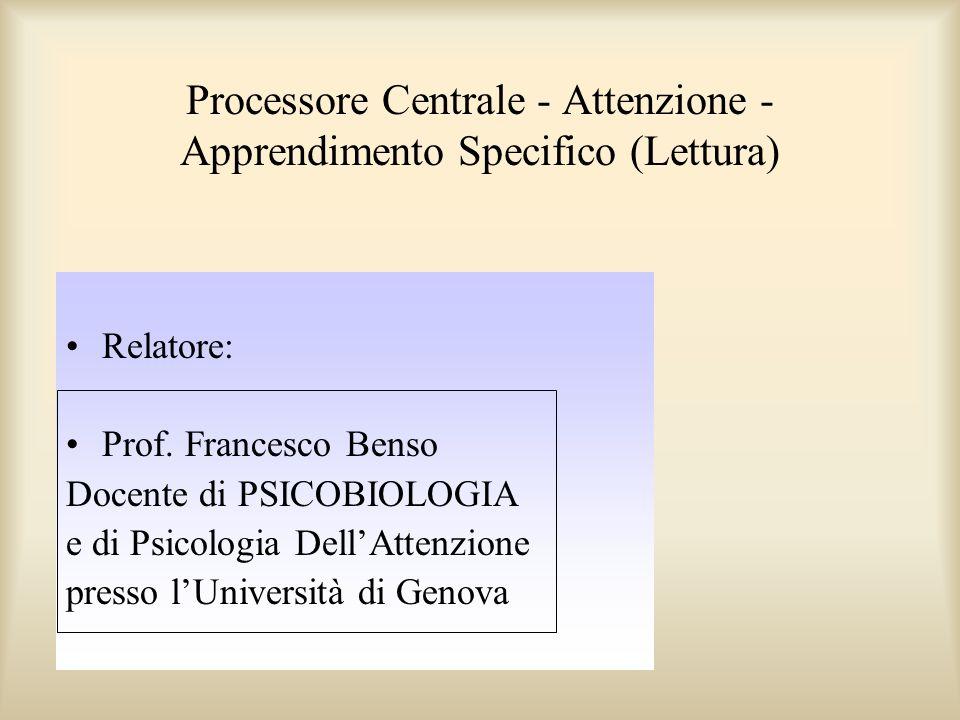 Processore Centrale - Attenzione - Apprendimento Specifico (Lettura) Relatore: Prof. Francesco Benso Docente di PSICOBIOLOGIA e di Psicologia DellAtte