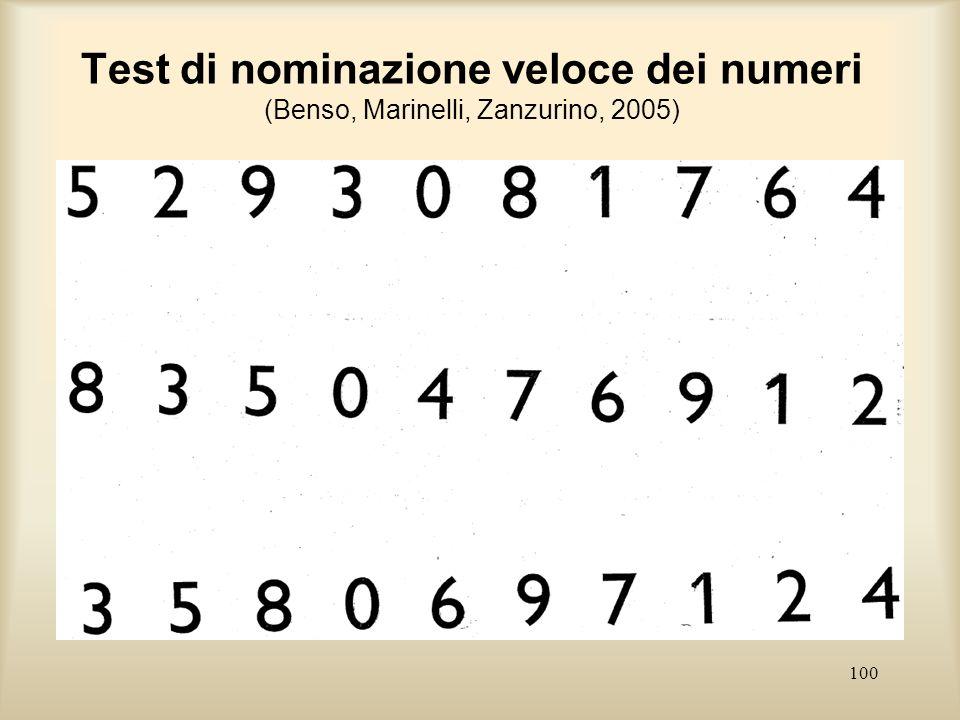 100 Test di nominazione veloce dei numeri (Benso, Marinelli, Zanzurino, 2005)