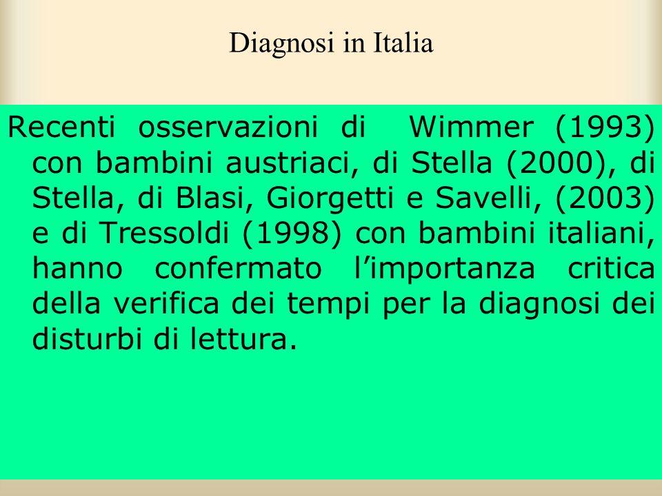 Diagnosi in Italia Recenti osservazioni di Wimmer (1993) con bambini austriaci, di Stella (2000), di Stella, di Blasi, Giorgetti e Savelli, (2003) e d