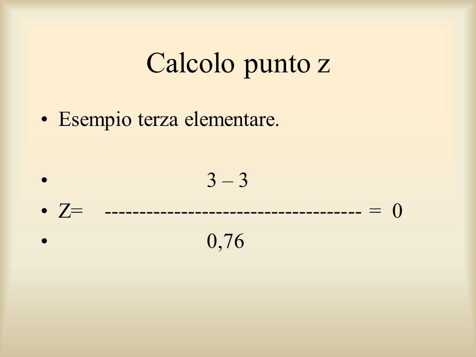 Calcolo punto z Esempio terza elementare. 3 – 3 Z= ------------------------------------- = 0 0,76