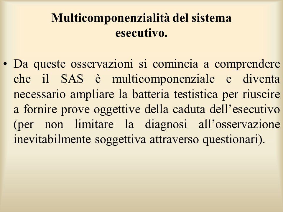 Multicomponenzialità del sistema esecutivo. Da queste osservazioni si comincia a comprendere che il SAS è multicomponenziale e diventa necessario ampl