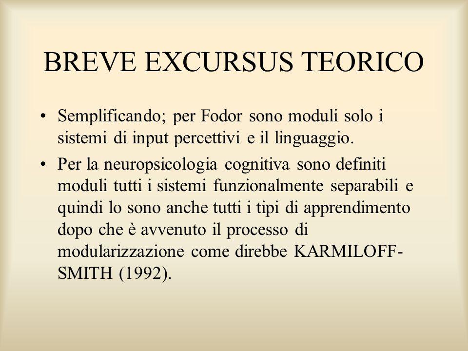 BREVE EXCURSUS TEORICO Semplificando; per Fodor sono moduli solo i sistemi di input percettivi e il linguaggio. Per la neuropsicologia cognitiva sono