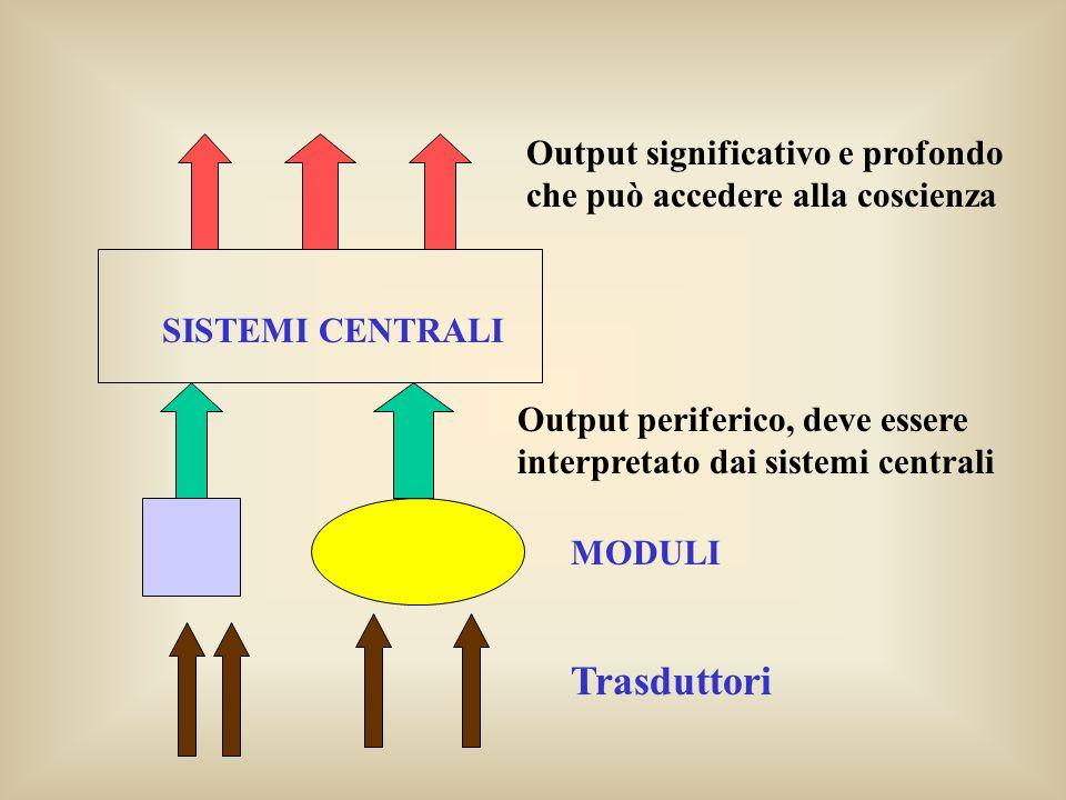 SISTEMI CENTRALI Output significativo e profondo che può accedere alla coscienza Output periferico, deve essere interpretato dai sistemi centrali MODU