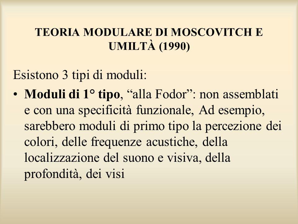 TEORIA MODULARE DI MOSCOVITCH E UMILTÀ (1990) Esistono 3 tipi di moduli: Moduli di 1° tipo, alla Fodor: non assemblati e con una specificità funzional