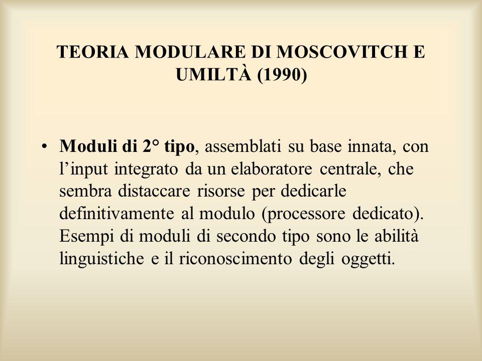 TEORIA MODULARE DI MOSCOVITCH E UMILTÀ (1990) Moduli di 2° tipo, assemblati su base innata, con linput integrato da un elaboratore centrale, che sembr
