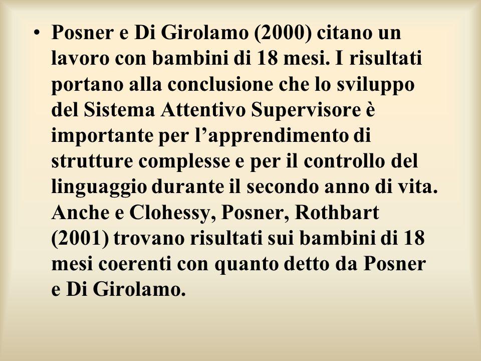 Posner e Di Girolamo (2000) citano un lavoro con bambini di 18 mesi. I risultati portano alla conclusione che lo sviluppo del Sistema Attentivo Superv