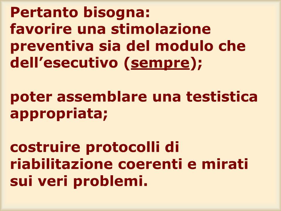 Pertanto bisogna: favorire una stimolazione preventiva sia del modulo che dellesecutivo (sempre); poter assemblare una testistica appropriata; costrui