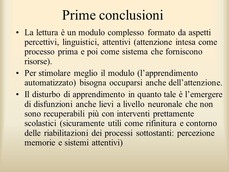 Prime conclusioni La lettura è un modulo complesso formato da aspetti percettivi, linguistici, attentivi (attenzione intesa come processo prima e poi
