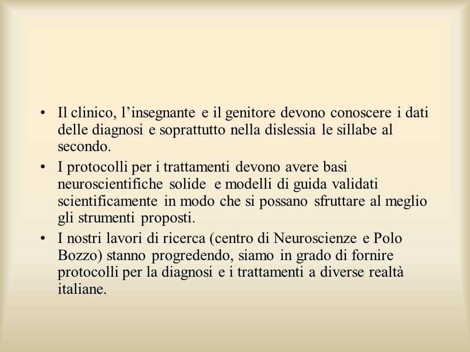 Il clinico, linsegnante e il genitore devono conoscere i dati delle diagnosi e soprattutto nella dislessia le sillabe al secondo. I protocolli per i t