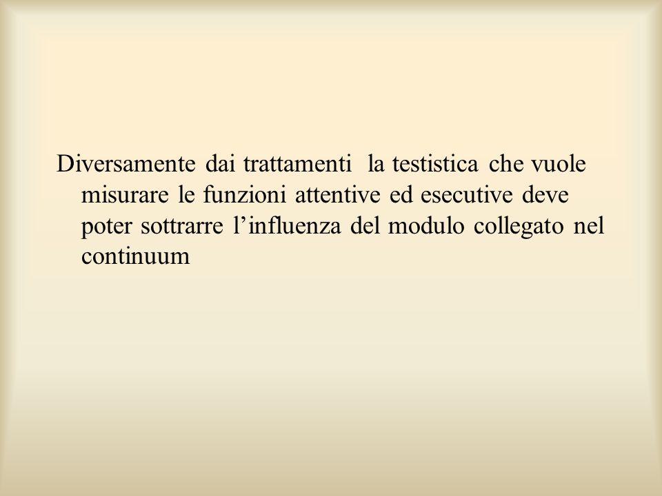 Diversamente dai trattamenti la testistica che vuole misurare le funzioni attentive ed esecutive deve poter sottrarre linfluenza del modulo collegato