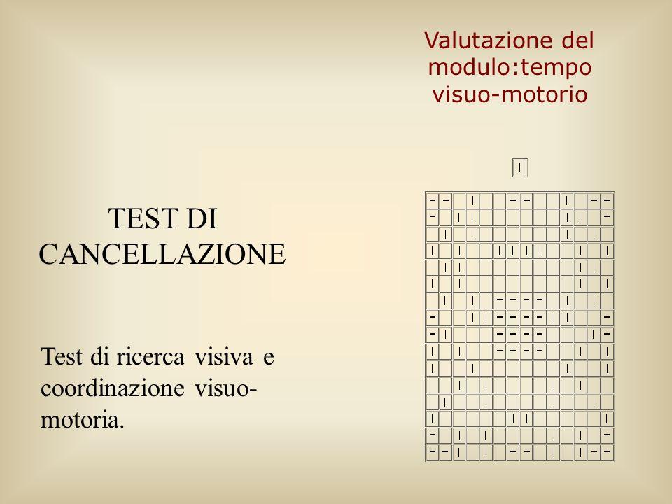 TEST DI CANCELLAZIONE Test di ricerca visiva e coordinazione visuo- motoria. Valutazione del modulo:tempo visuo-motorio