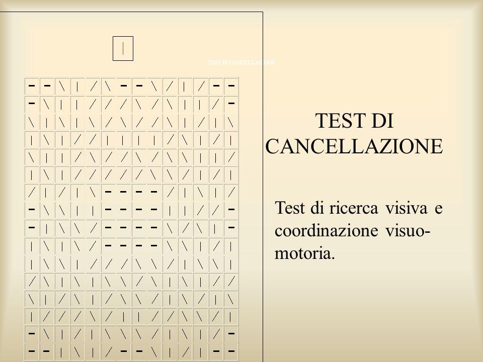 TEST DI CANCELLAZIONE Test di ricerca visiva e coordinazione visuo- motoria. TEST DI CANCELLAZIONE  