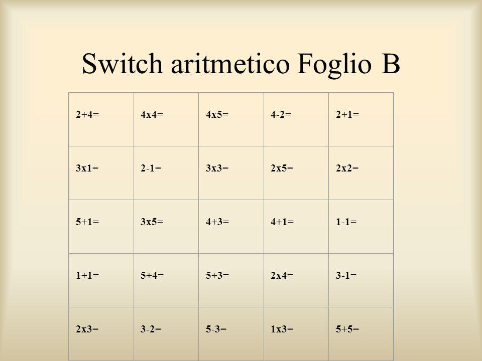 Switch aritmetico Foglio B 2+4= 4x4= 4x5= 4-2= 2+1= 3x1= 2-1= 3x3= 2x5= 2x2= 5+1= 3x5= 4+3= 4+1= 1-1= 1+1= 5+4= 5+3= 2x4= 3-1= 2x3= 3-2= 5-3= 1x3= 5+5