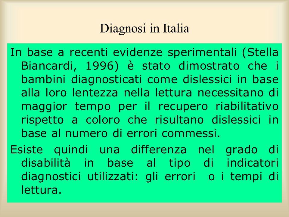 Diagnosi in Italia In base a recenti evidenze sperimentali (Stella Biancardi, 1996) è stato dimostrato che i bambini diagnosticati come dislessici in