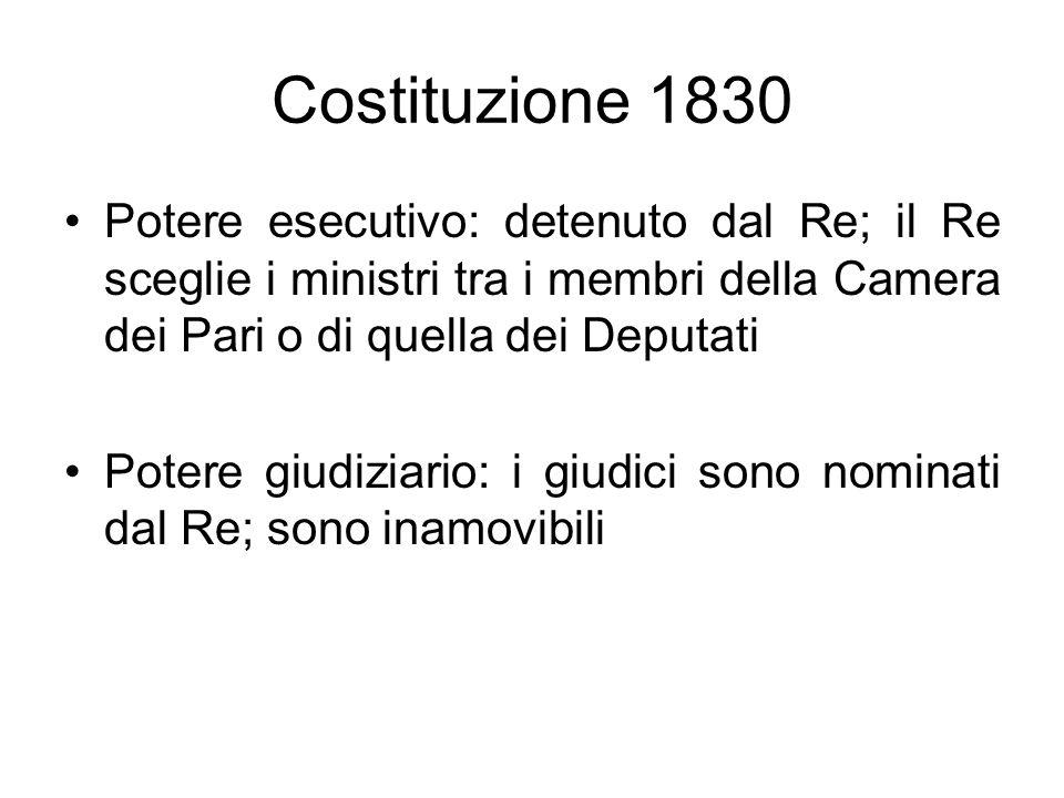 Costituzione 1830 Potere esecutivo: detenuto dal Re; il Re sceglie i ministri tra i membri della Camera dei Pari o di quella dei Deputati Potere giudi