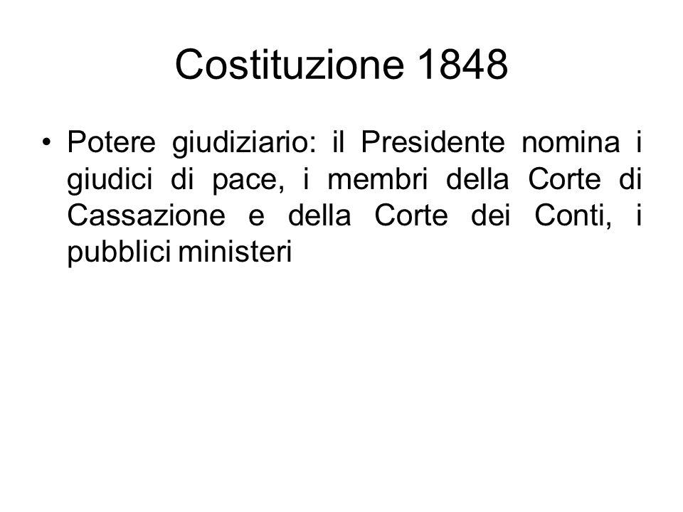 Costituzione 1848 Potere giudiziario: il Presidente nomina i giudici di pace, i membri della Corte di Cassazione e della Corte dei Conti, i pubblici m
