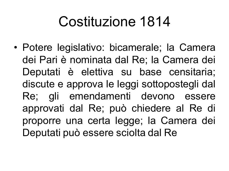 Costituzione 1814 Potere legislativo: bicamerale; la Camera dei Pari è nominata dal Re; la Camera dei Deputati è elettiva su base censitaria; discute