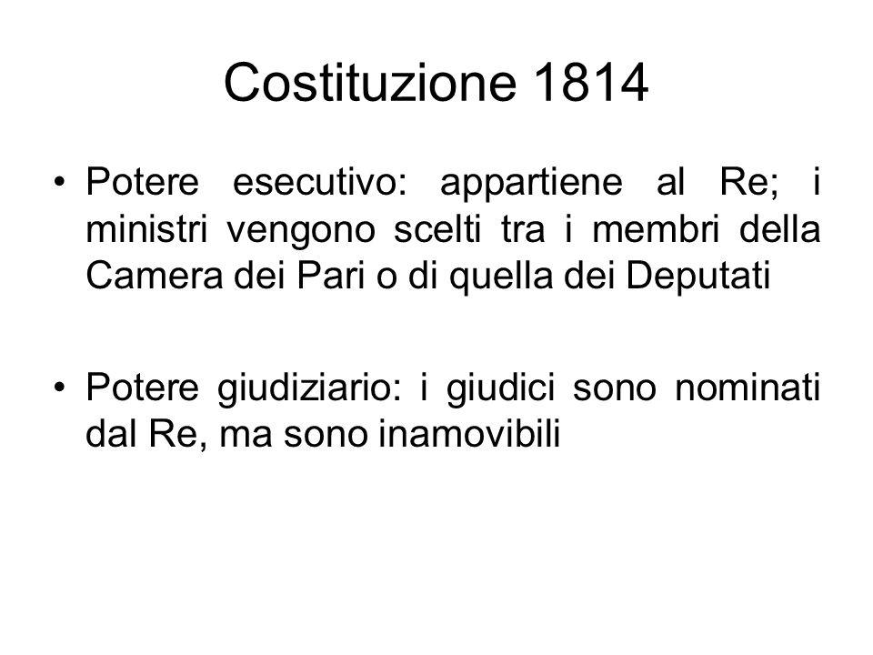 Costituzione 1814 Potere esecutivo: appartiene al Re; i ministri vengono scelti tra i membri della Camera dei Pari o di quella dei Deputati Potere giu