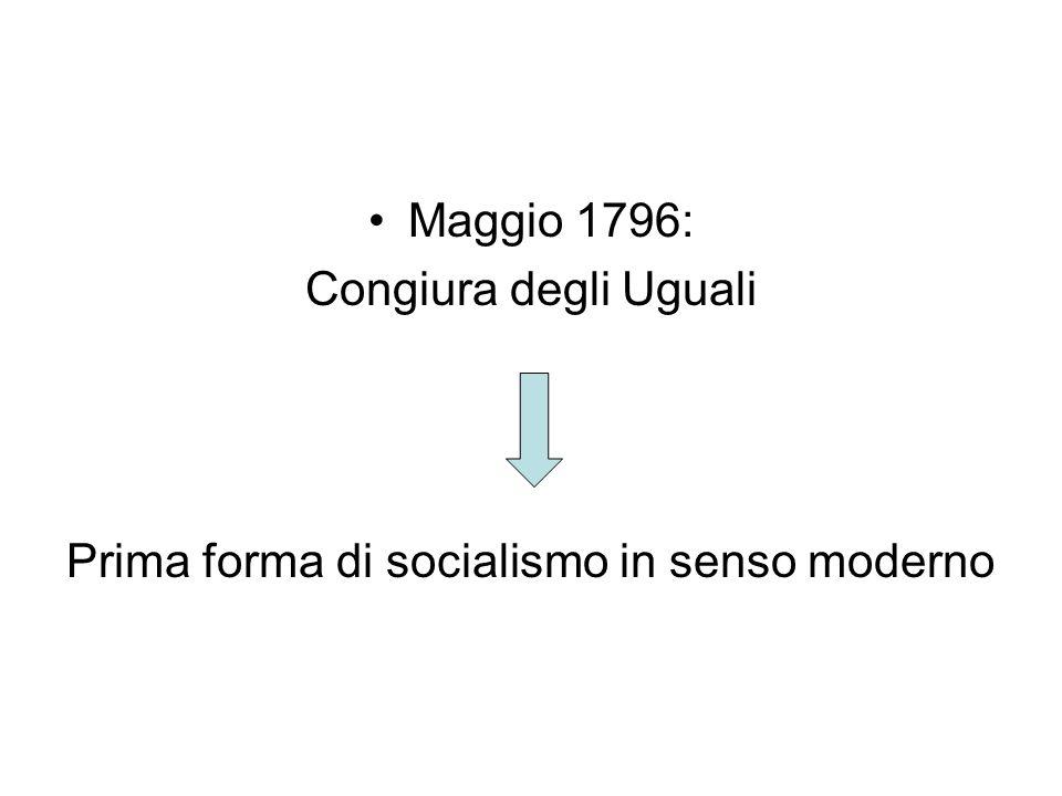 Maggio 1796: Congiura degli Uguali Prima forma di socialismo in senso moderno