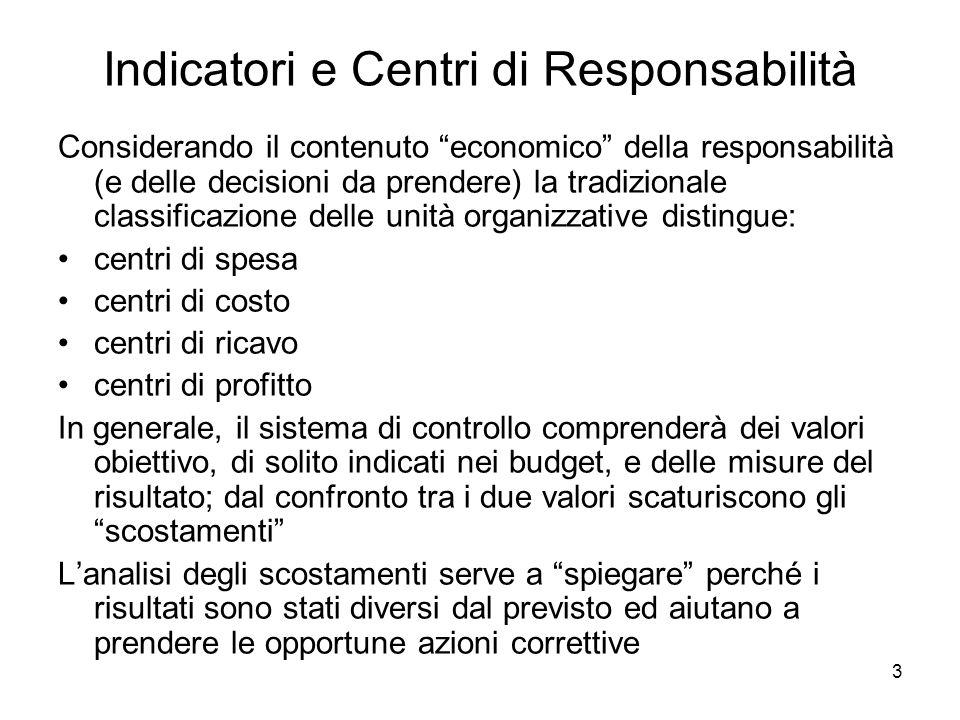 3 Indicatori e Centri di Responsabilità Considerando il contenuto economico della responsabilità (e delle decisioni da prendere) la tradizionale class