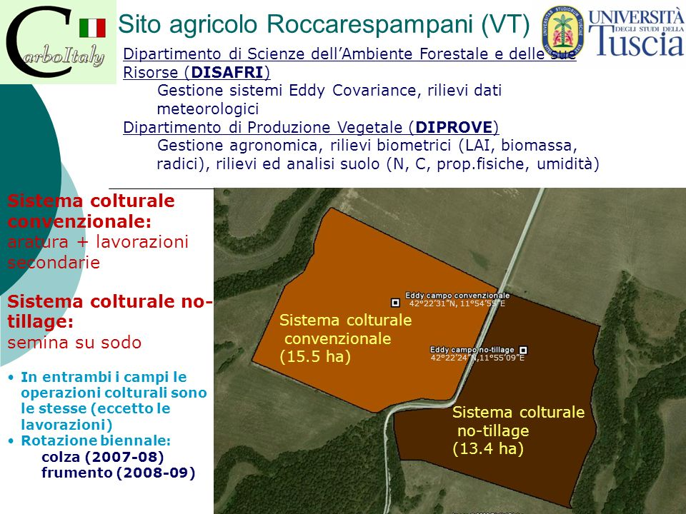 Sito agricolo Roccarespampani (VT) Sistema colturale convenzionale: aratura + lavorazioni secondarie Sistema colturale no- tillage: semina su sodo Sis
