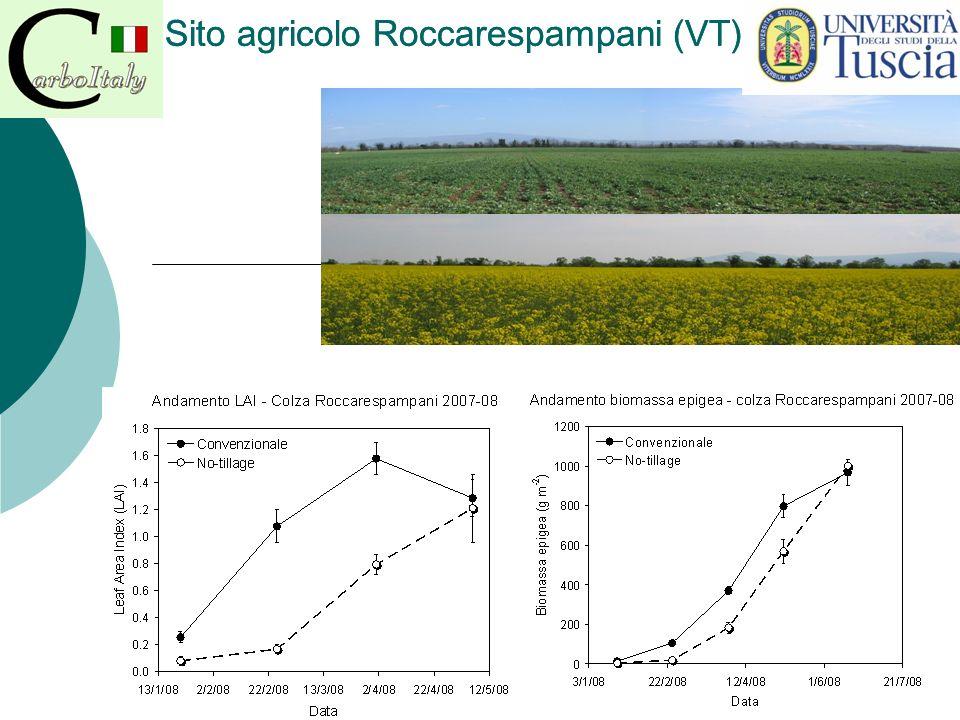 Fase di emergenza anticipata nel trattamento convenzionale Efflusso di CO 2 da entrambi gli ecosistemi, ma più contenuto per il trattamento no-tillage Ottobre 2007 Gennaio 2008 Sito agricolo Roccarespampani (VT)