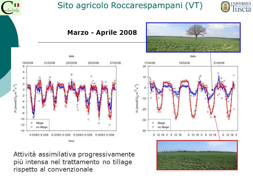 Marzo - Aprile 2008 Attività assimilativa progressivamente più intensa nel trattamento no tillage rispetto al convenzionale Sito agricolo Roccarespamp