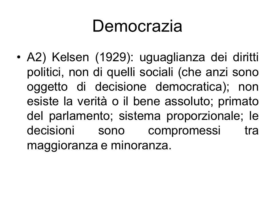 Democrazia A2) Kelsen (1929): uguaglianza dei diritti politici, non di quelli sociali (che anzi sono oggetto di decisione democratica); non esiste la