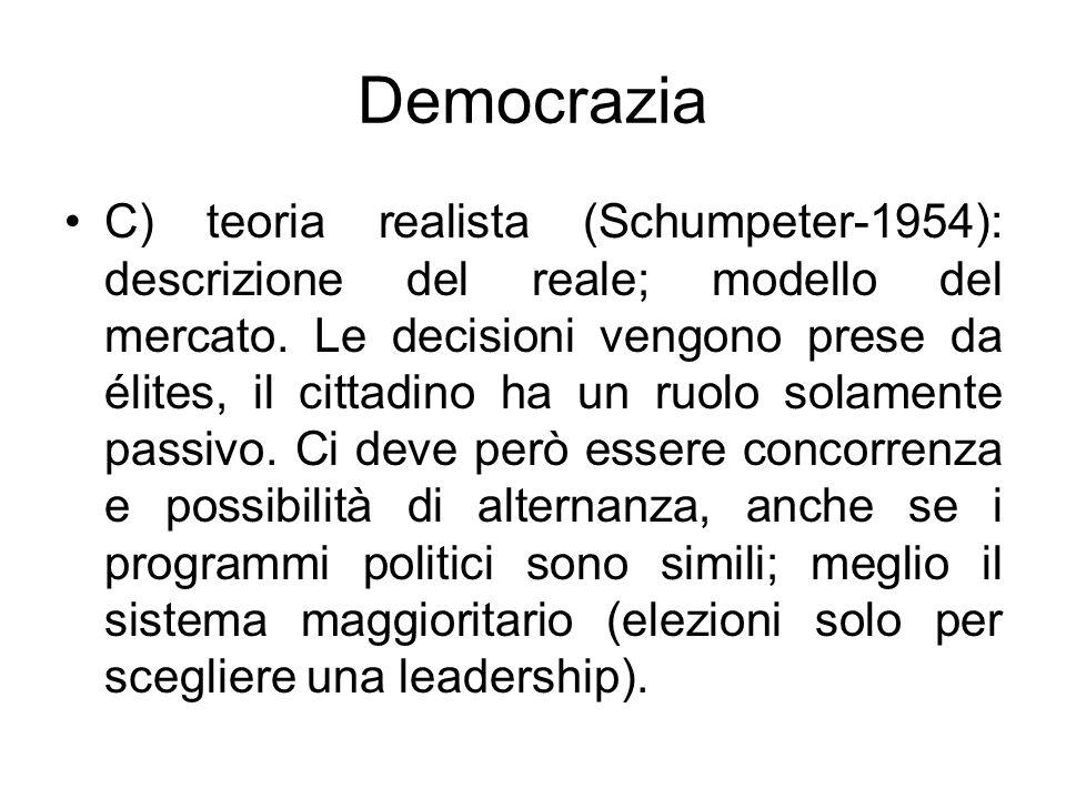 Democrazia C) teoria realista (Schumpeter-1954): descrizione del reale; modello del mercato. Le decisioni vengono prese da élites, il cittadino ha un