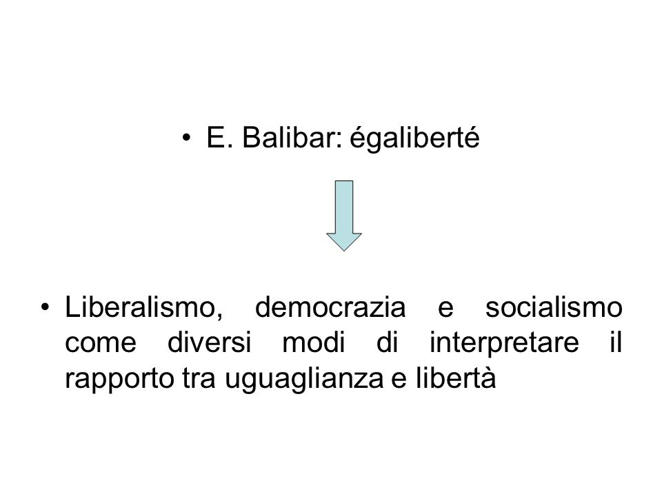 E. Balibar: égaliberté Liberalismo, democrazia e socialismo come diversi modi di interpretare il rapporto tra uguaglianza e libertà