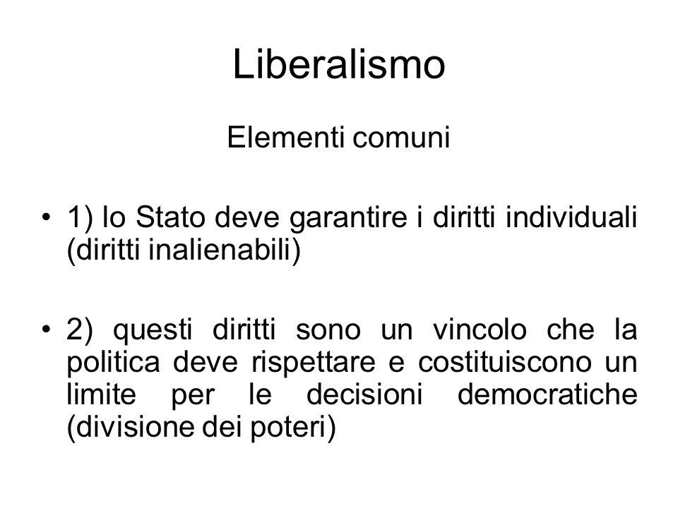 Liberalismo Elementi comuni 1) lo Stato deve garantire i diritti individuali (diritti inalienabili) 2) questi diritti sono un vincolo che la politica
